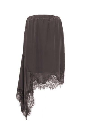 The Emma Lace Silk Skirt in pewter.
