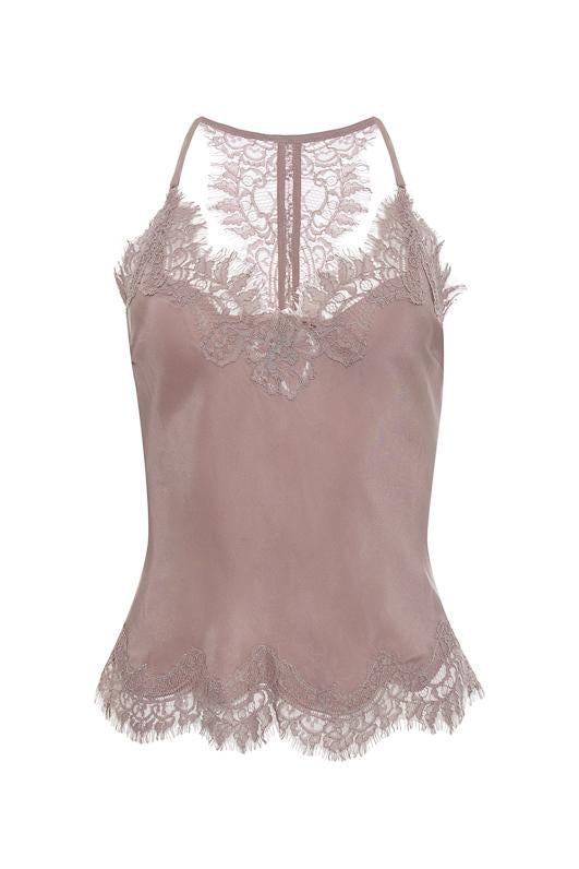 The Lucy Crop Cami in muted rose.