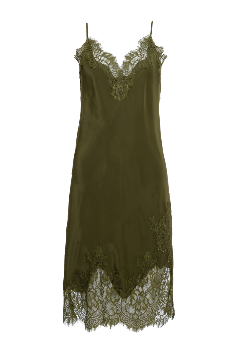 The Grace Lace Silk Dress in olive.