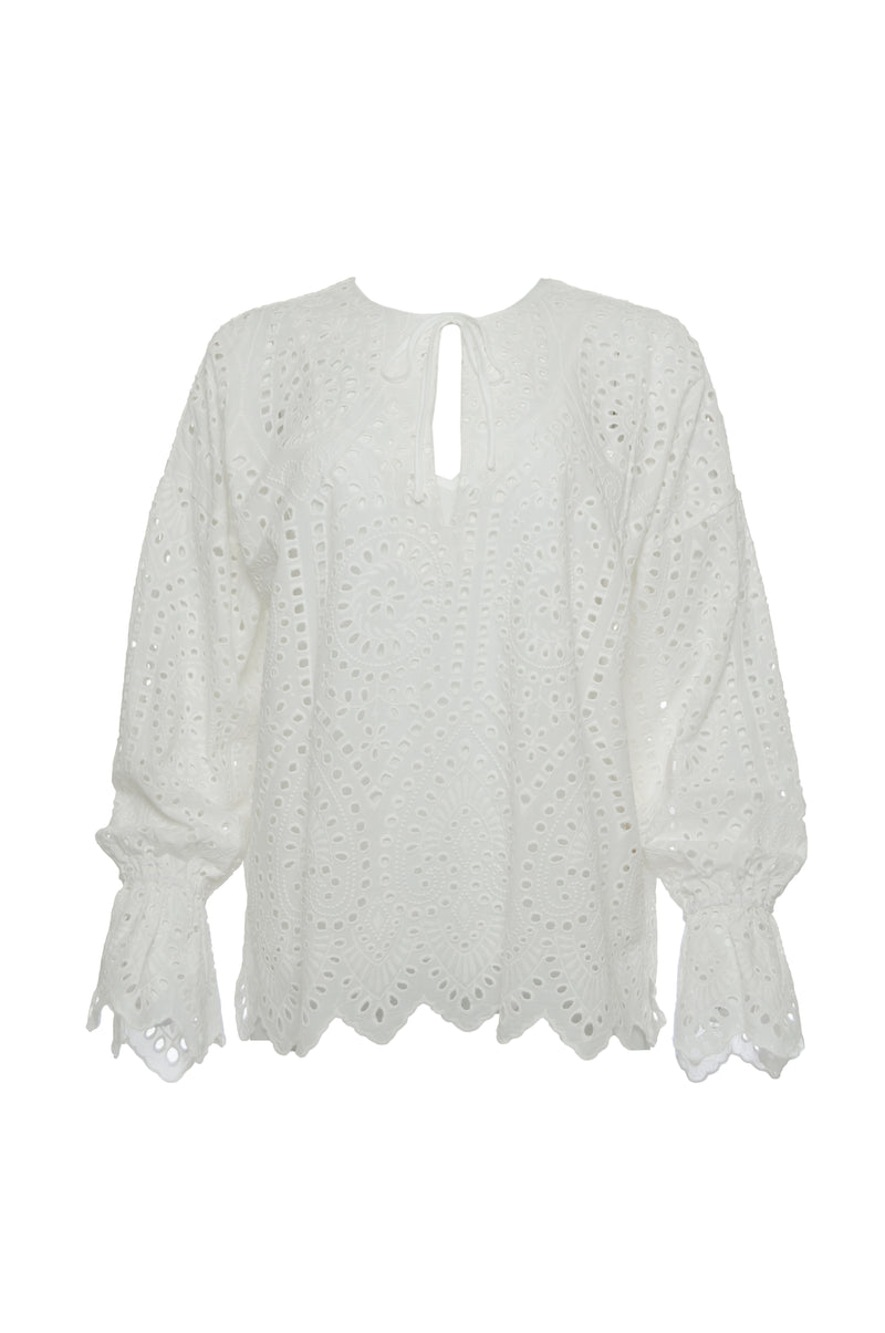The Adele Cotton Oversized Top in white.