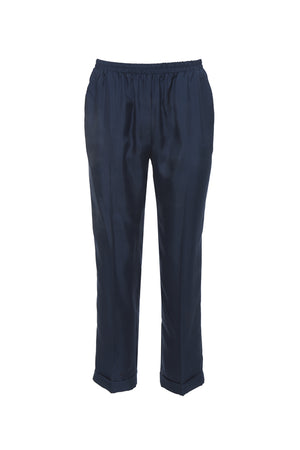 The Silk Twill Cuff Pants in navy.