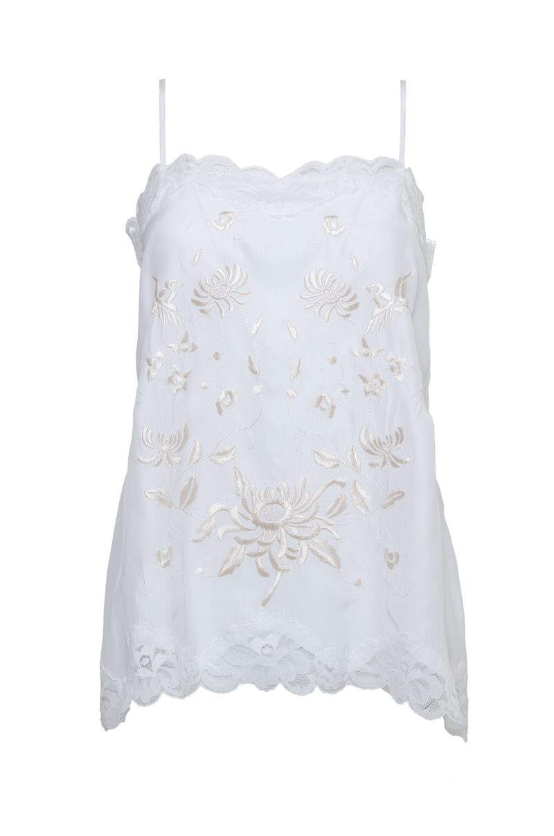 The Emily Embroidered Cami in White with white and sand shell embroidery.