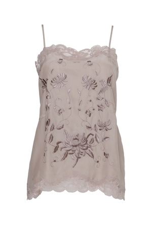 The Emily Embroidered Cami in sand shell with sand shell and cinnamon embroidery.