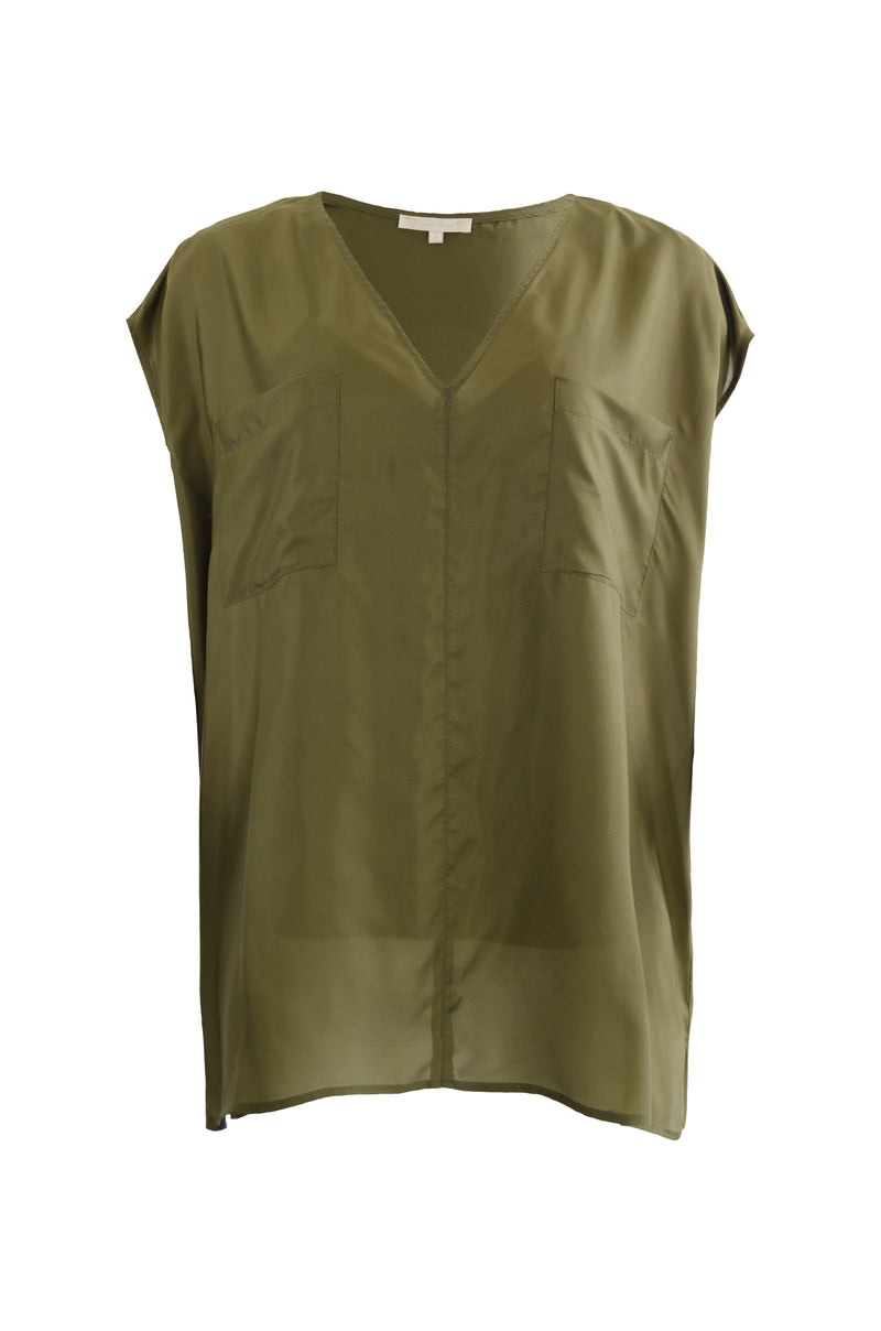 The Habotai Relaxed Silk Tee in olive.
