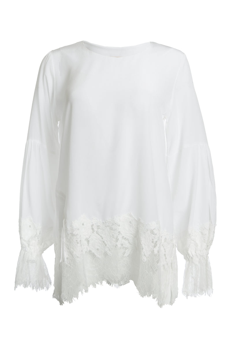 The Romantic Lace Sleeve Silk Top in white.