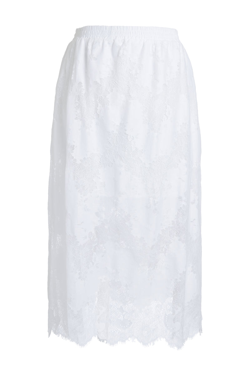 The Suzy Zig Zag Lace Skirt in white.
