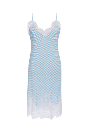 The Anne Marie Silk Dress in baby blue/off white.
