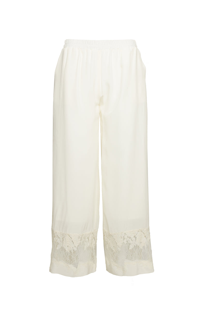 The Julia Lace Silk Pants in dove.