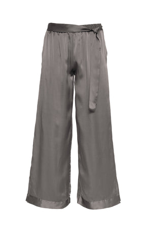 The Hammered Silk Belted Pants in steeple grey.