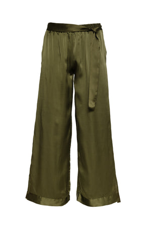 The Hammered Silk Belted Pants in olive.