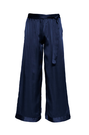 The Hammered Silk Belted Pants in navy.