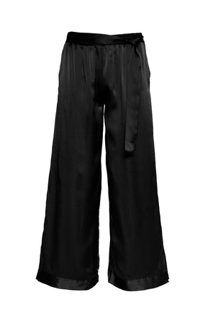 The Hammered Silk Belted Pants in black.