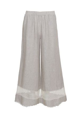 The Capri Lace Linen Pants in birch.