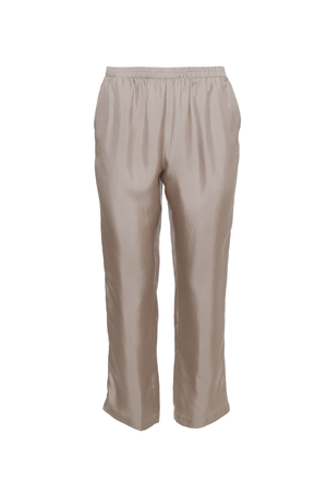 The Silk Twill Piping Pants in birch.