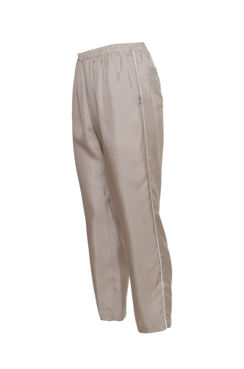 The Silk Twill Piping Pants in olive.