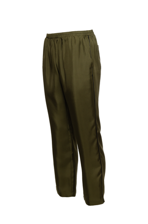 The Silk Twill Piping Pants in olive; side view.