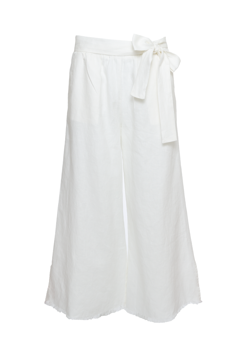 The Wide Leg Linen Belted Pants in dove.