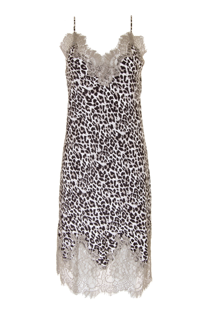 The Coco Print Silk Slip Dress in grey animal.