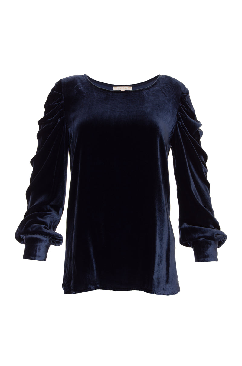 The Dynasty Velvet Ruched Sleeve Top in navy.