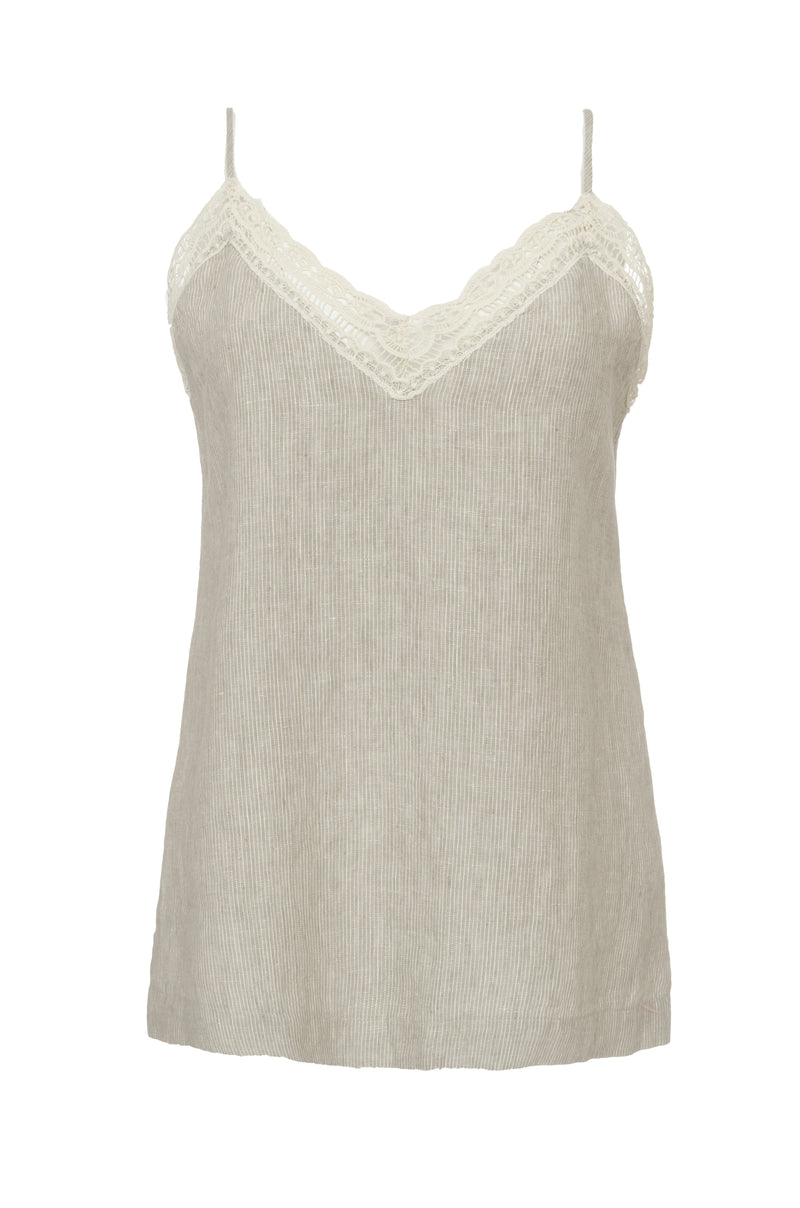 The Capri Linen Cami in birch.