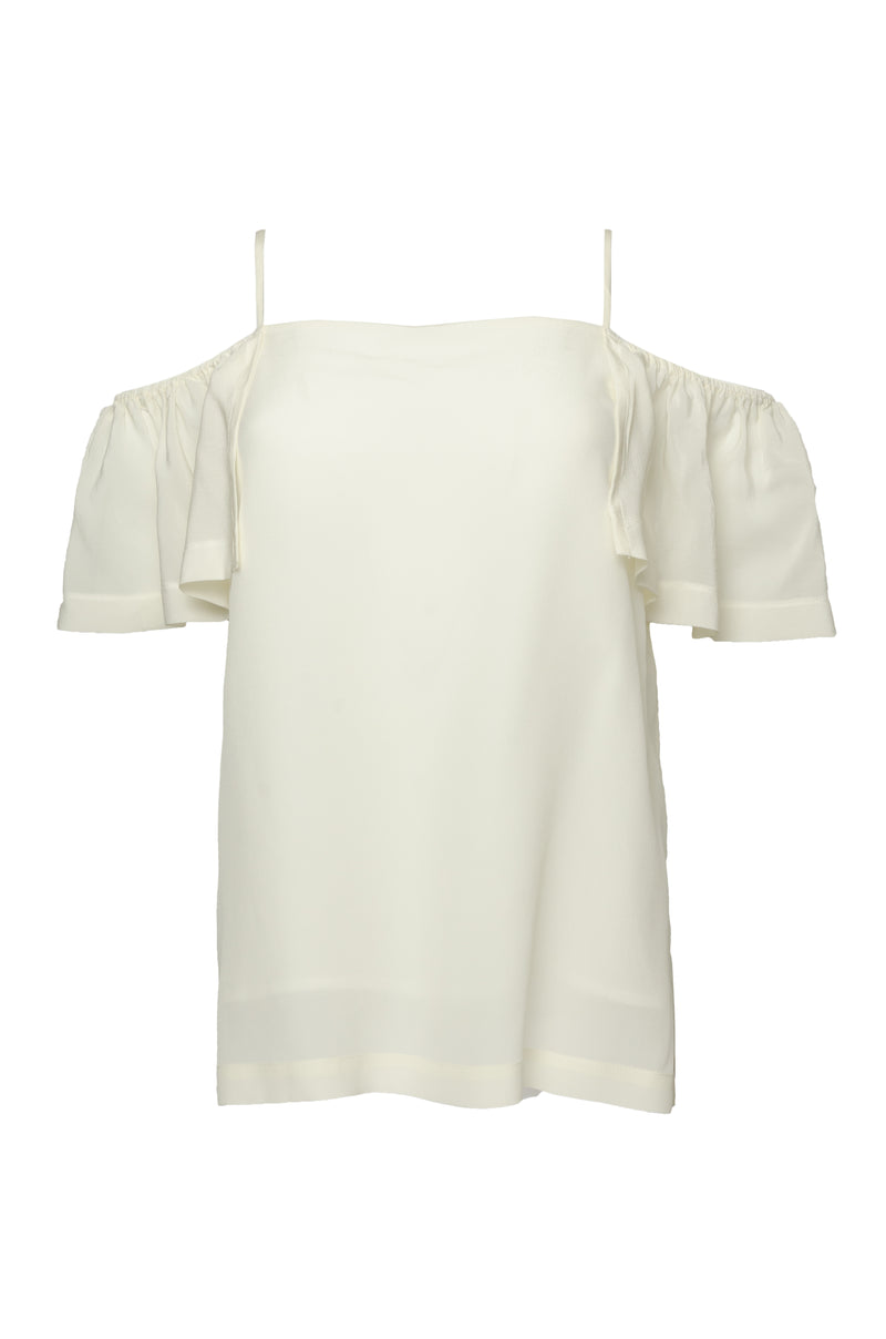 The Off- Shoulder Silk Cami Top in dove.