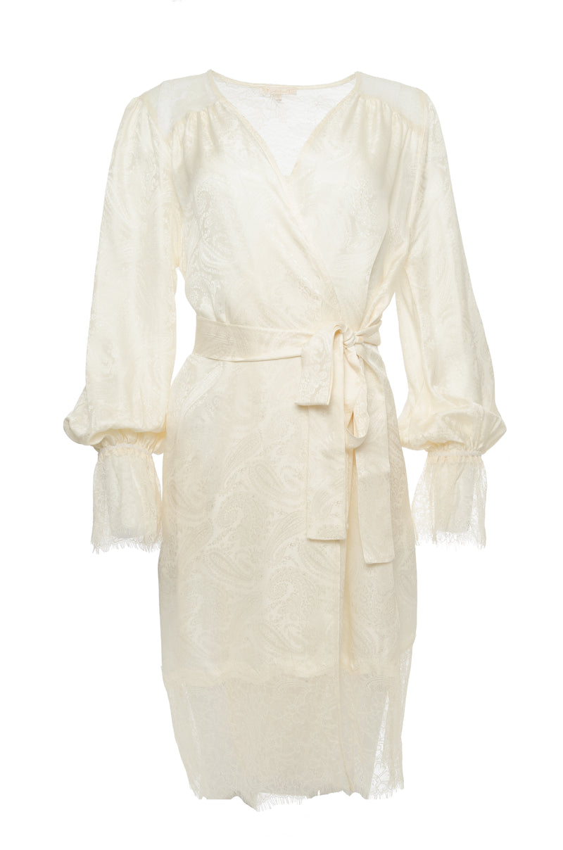The Emma Lace Jacquard Robe in dove, shown belted at the waist.