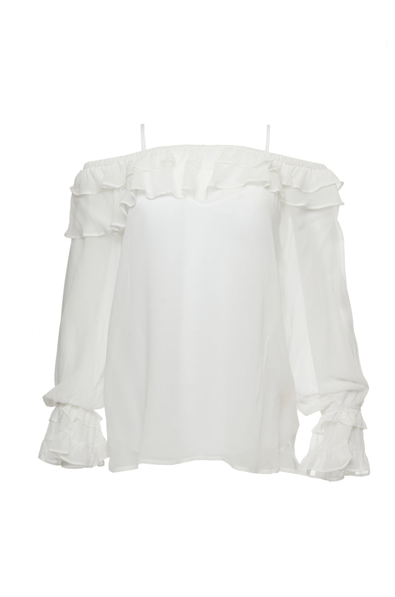 The Mila Silk Ruffle Top in white.