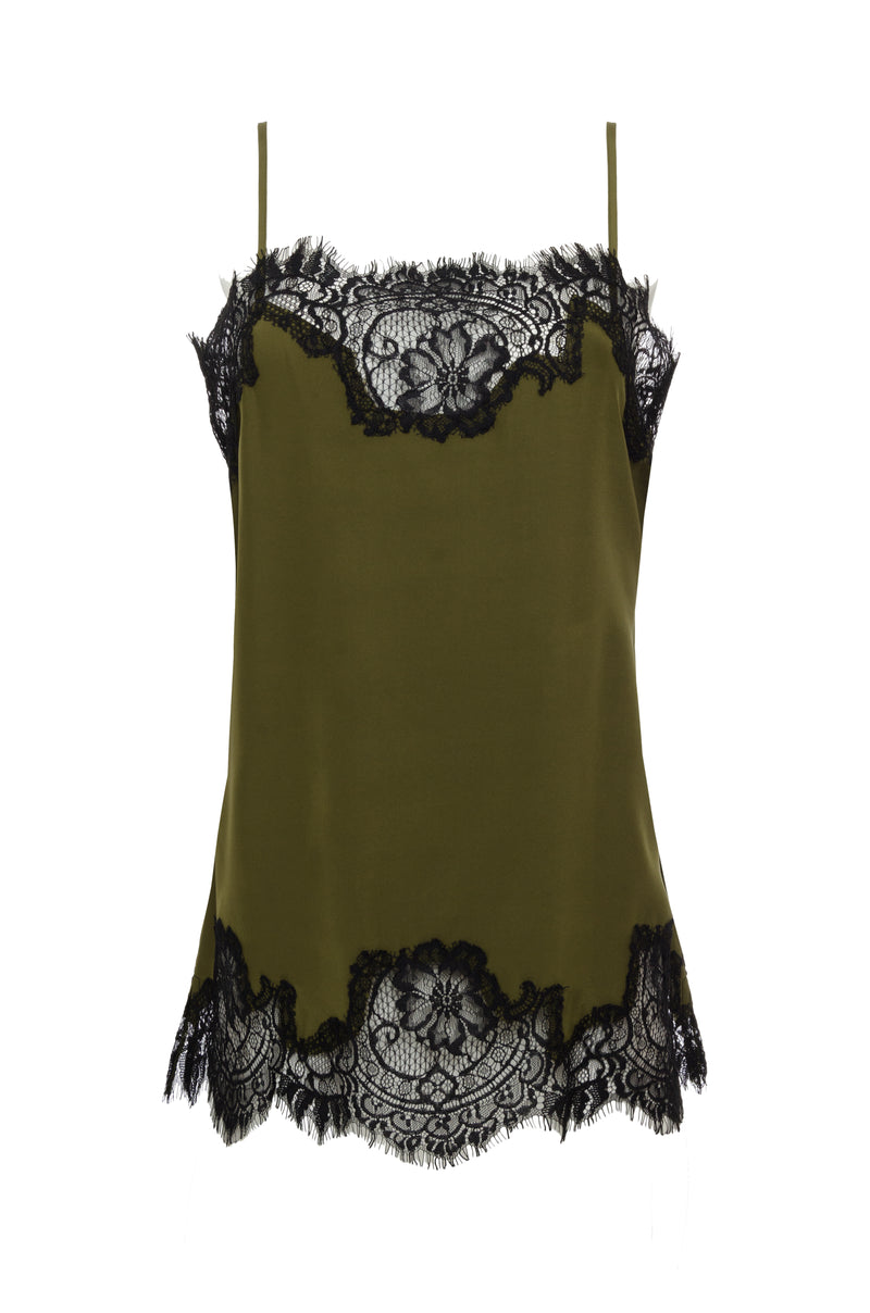 The Coco Lace Silk Straight Cami in olive with black lace.