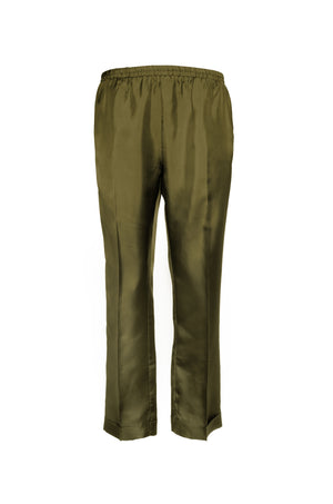 The Silk Twill Cuff Pants in olive.