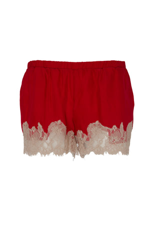 The Marilyn Lace Silk Shorts in red with sand shell lace.