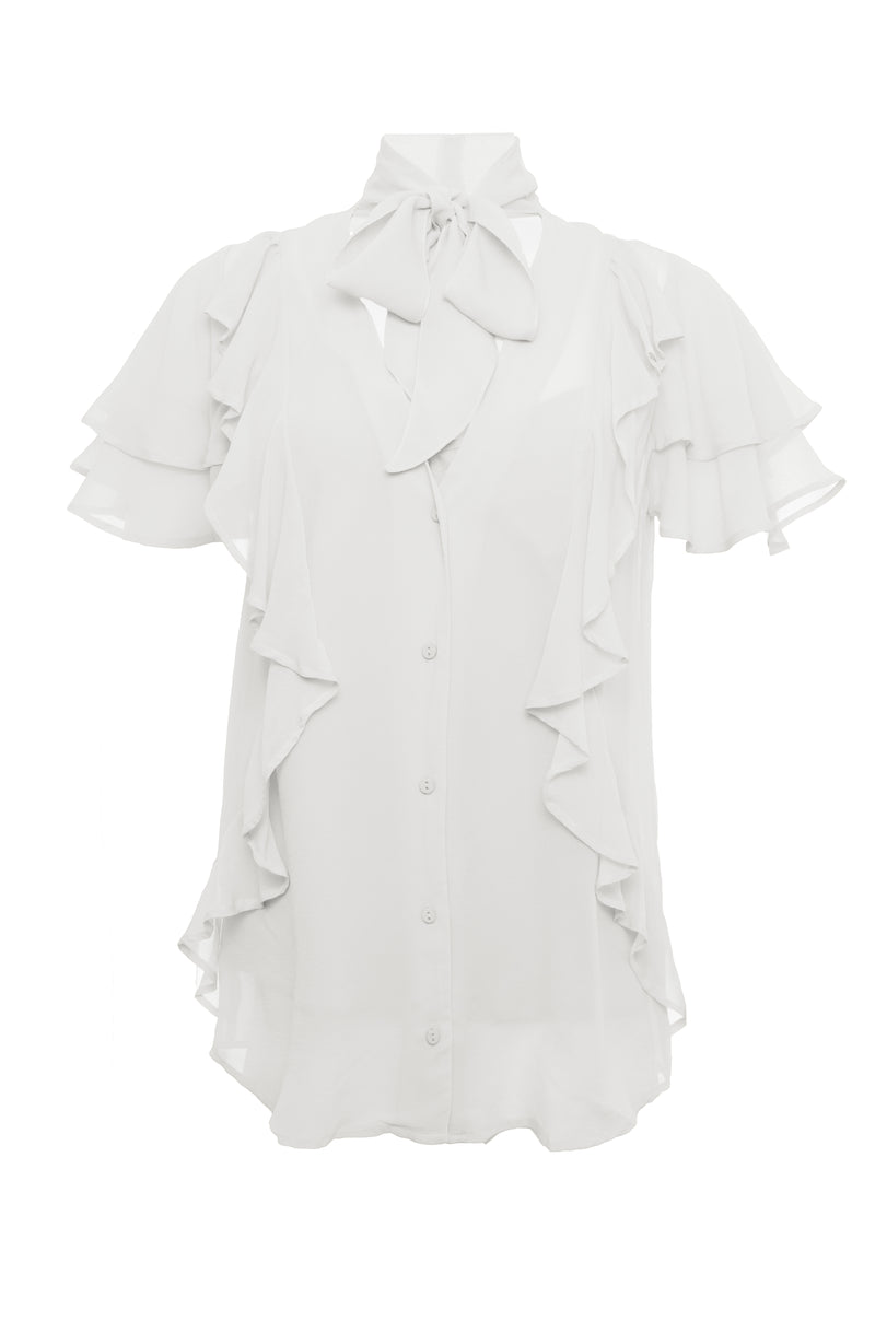 The Ruffle Self-Tie Top in white.