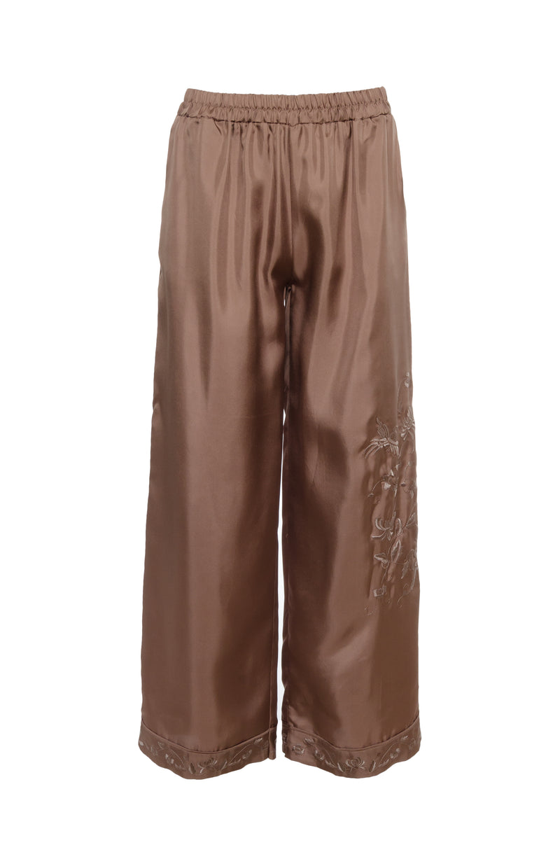 The Emily Silk Embroidered Pants in rose taupe with rose taupe embroidery.