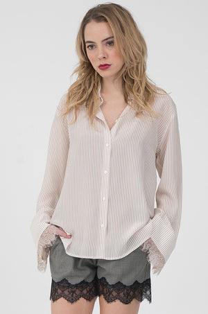 Model is wearing the Stripe Lace Long Sleeve Shirt in nude with the Menswear Plaid Shorts in grey.