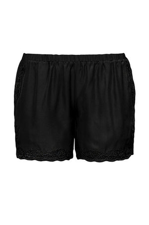 The Classic Lace Modern Silk Shorts in black.