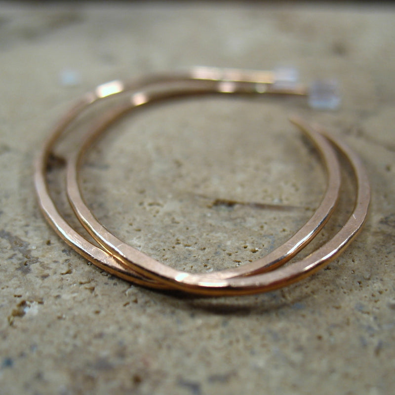 Hoop Earrings Pink Gold Oval Hammered 1 Inch, 2 Inch, 3 Inch