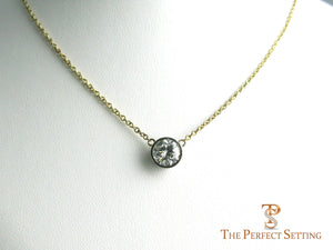 diamond solitaire necklace bezel set