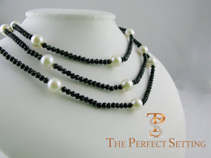 Black Spinel Cultured Pearl Necklace triple strand