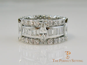 Marquise, Baguette and Round Diamond Wedding Eternity Band
