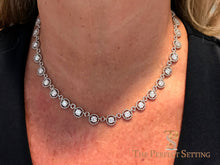 Load image into Gallery viewer, Diamond Eternity Link Necklace on neck