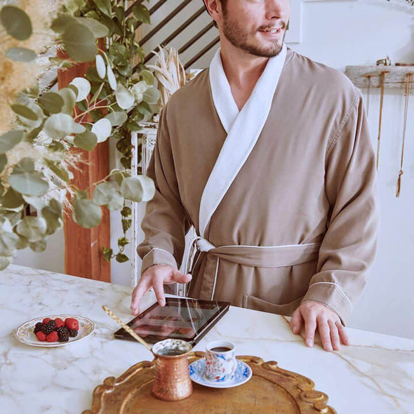 Men's Robes - Spa Robe in Sandstone
