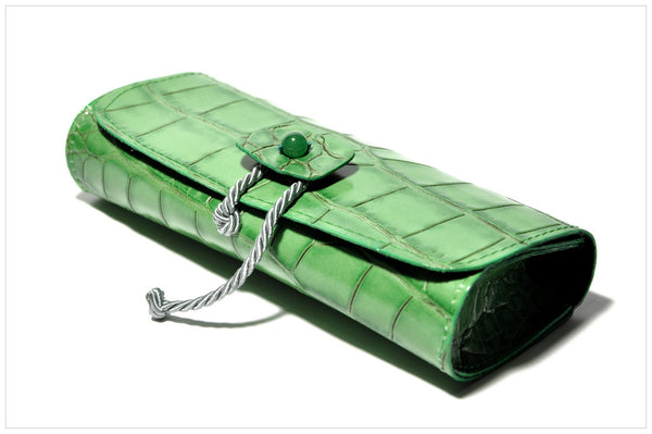 Jewel clutch. Pochette gioiello. Enthom - side angle view.