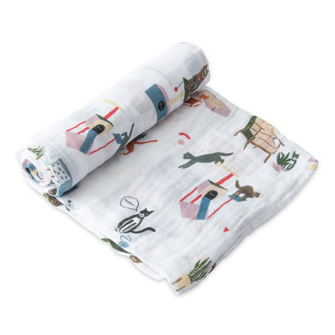 Cotton Muslin Swaddle - Meow