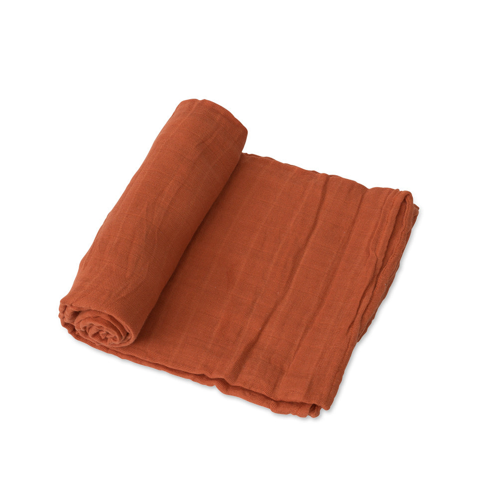 Cotton Muslin Swaddle - Rust