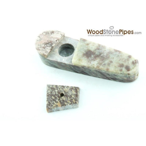 "3"" Marble Colored Hand Stone Smoking Tobacco Pipe with Sliding Lid - WoodStonePipes.com   - 5"