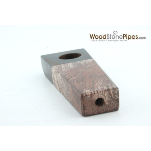 "3"" Rosewood and Stone Tobacco Hand Pipe - WoodStonePipes.com   - 3"