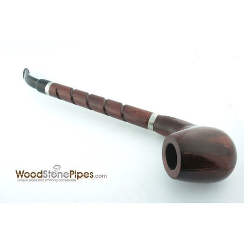 "Bent Brandy Rosewood Tobacco Pipe - with Long Spiral Shank - 10.5"" - WoodStonePipes.com   - 11"