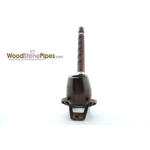 "Bent Brandy Rosewood Tobacco Pipe - with Long Spiral Shank - 10.5"" - WoodStonePipes.com   - 14"