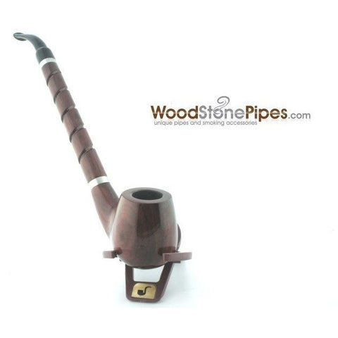 "Bent Brandy Rosewood Tobacco Pipe - with Long Spiral Shank - 10.5"" - WoodStonePipes.com   - 3"