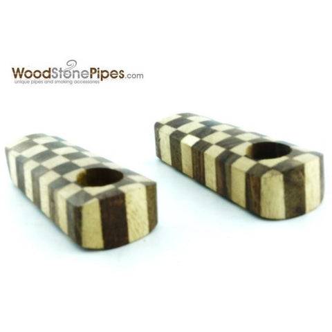 "2"" Checkerboard Wood Tobacco Pipe with Brass Screen - WoodStonePipes.com   - 1"