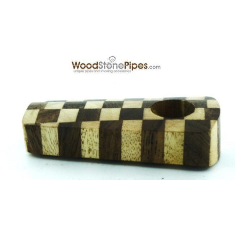 "2"" Checkerboard Wood Tobacco Pipe with Brass Screen - WoodStonePipes.com   - 3"